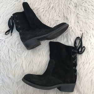 Nine West Black Suede Krasher Lace Up Booties